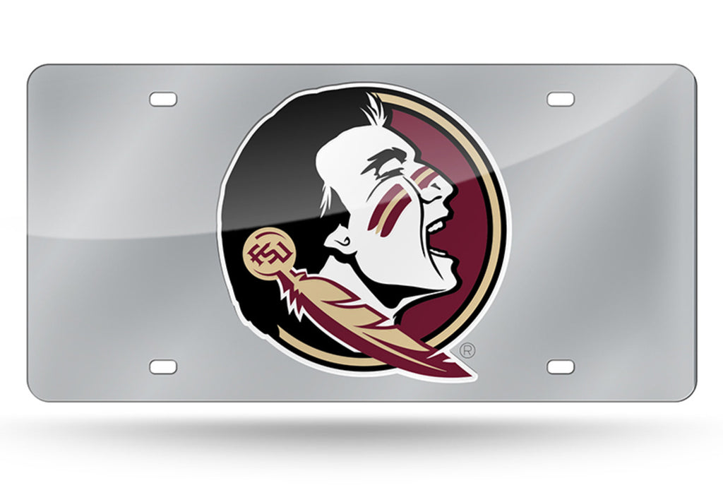 FLORIDA STATE SEMINOLES SILVER MIRROR CAR TAG LASER LICENSE PLATE UNIVERSITY