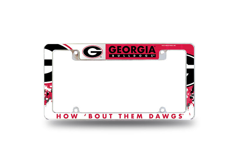 GEORGIA BULLDOGS CHROME LICENSE PLATE FRAME ALL OVER TAG COVER AUTO AFC UNIVERSITY