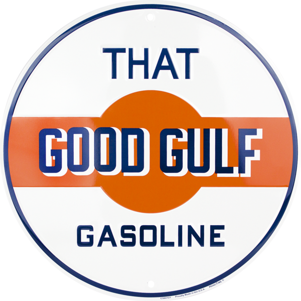 "Gulf That Good Gasoline Tin Metal Round Sign 12"" Vintage Decor Shop Auto Gas"