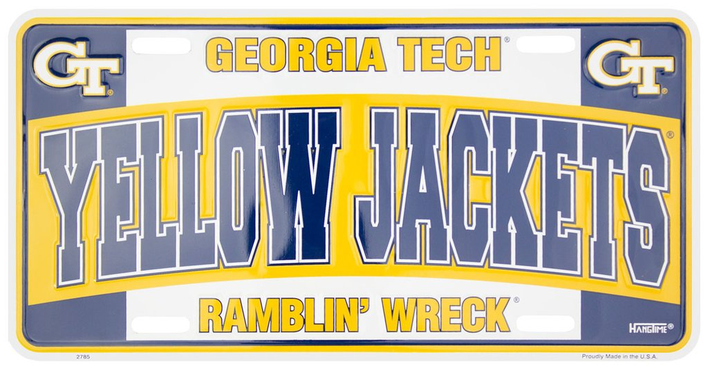 GEORGIA TECH CAR TRUCK TAG LICENSE PLATE GT YELLOW JACKETS METAL SIGN BLUE WHITE