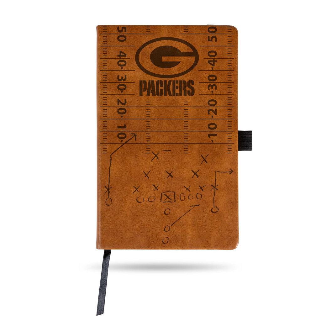 GREEN BAY PACKERS LASER ENGRAVED BROWN NOTEPAD WITH ELASTIC BAND JOURNAL LOGO