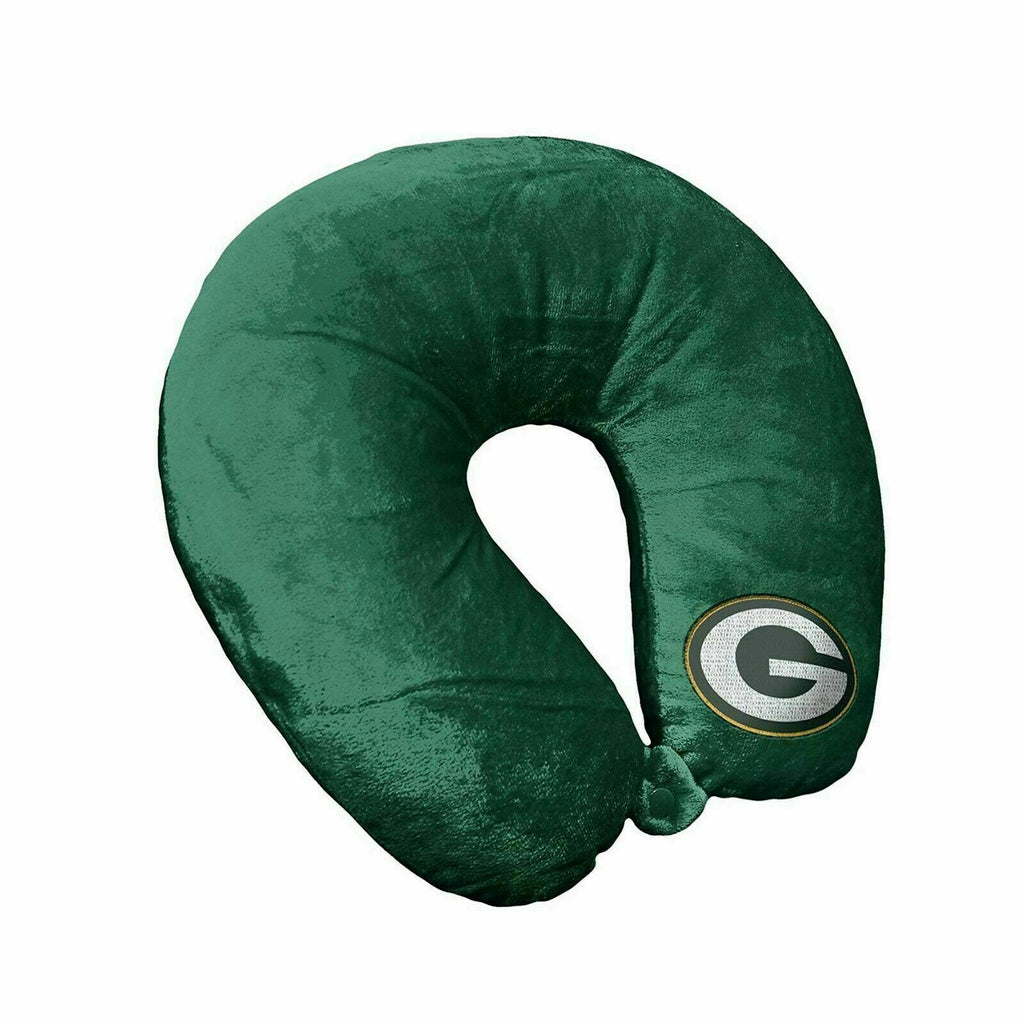 GREEN BAY PACKERS APPLIQUE TRAVEL NECK PILLOW TEAM LOGO COLOR SNAP CLOSURE POLYESTER