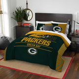 GREEN BAY PACKERS FULL/QUEEN COMFORTER AND SHAM 3PC SET DRAFT NORTHWEST NFL