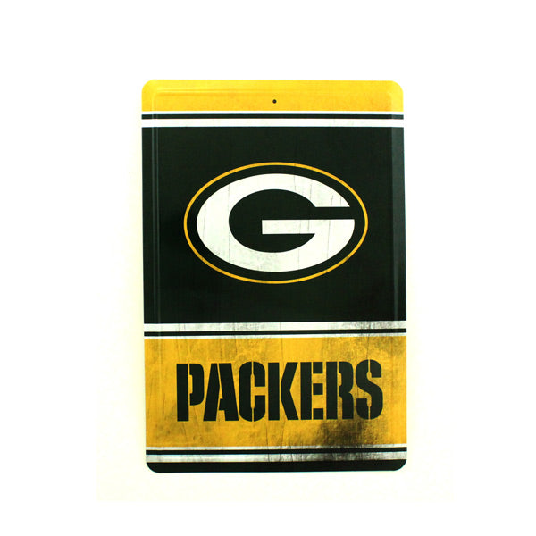 "GREEN BAY PACKERS TEAM TIN SIGN VINTAGE WOOD LOOK METAL 8""  X 12"" MAN CAVE FAN"