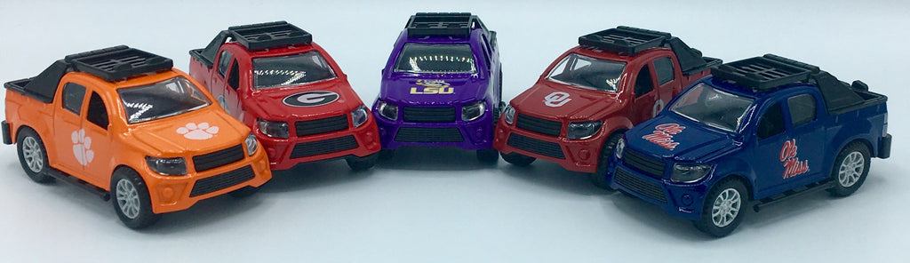 LSU TIGERS TEAM TRUCKS PULL BACK ACTION DIE CAST COLLECTIBLE UNIVERSITY TOY