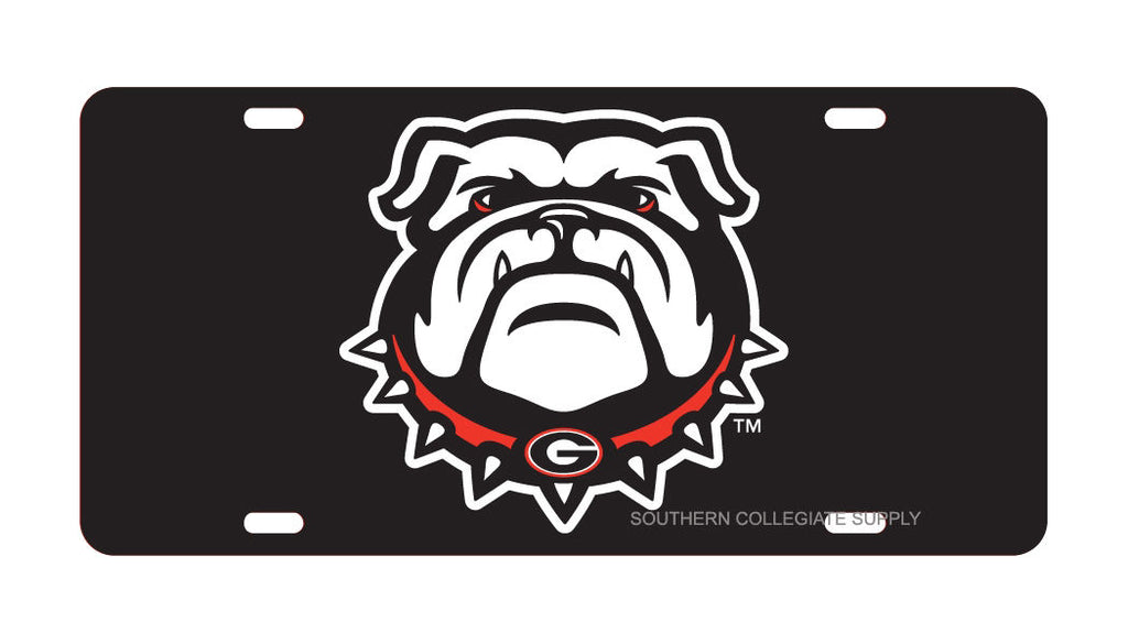 GEORGIA BULLDOGS LOGO INLAID LASER CUT LICENSE PLATE CAR TAG UNIVERSITY BLACK AUTO