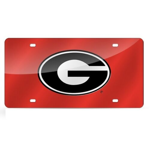GEORGIA BULLDOGS MIRROR CAR TAG LICENSE PLATE RED SILVER BLACK G SIGN CRAFTIQUE