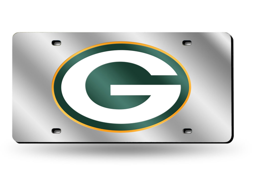 GREEN BAY PACKERS MIRROR CAR TAG LASER LICENSE PLATE SILVER LOGO NFL
