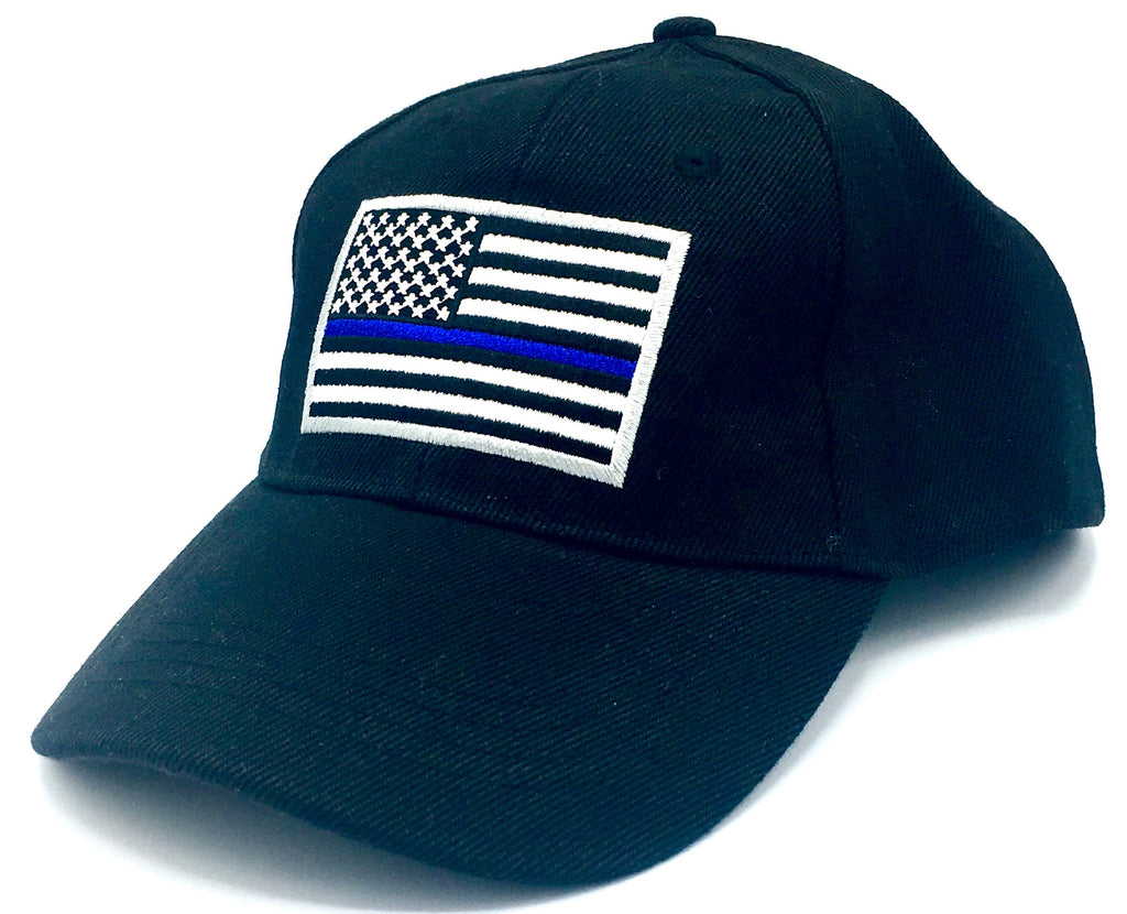 USA THIN BLUE LINE HAT BLACK POLICE BLUE LIVES MATTER AMERICAN FLAG MEMORIAL CAP