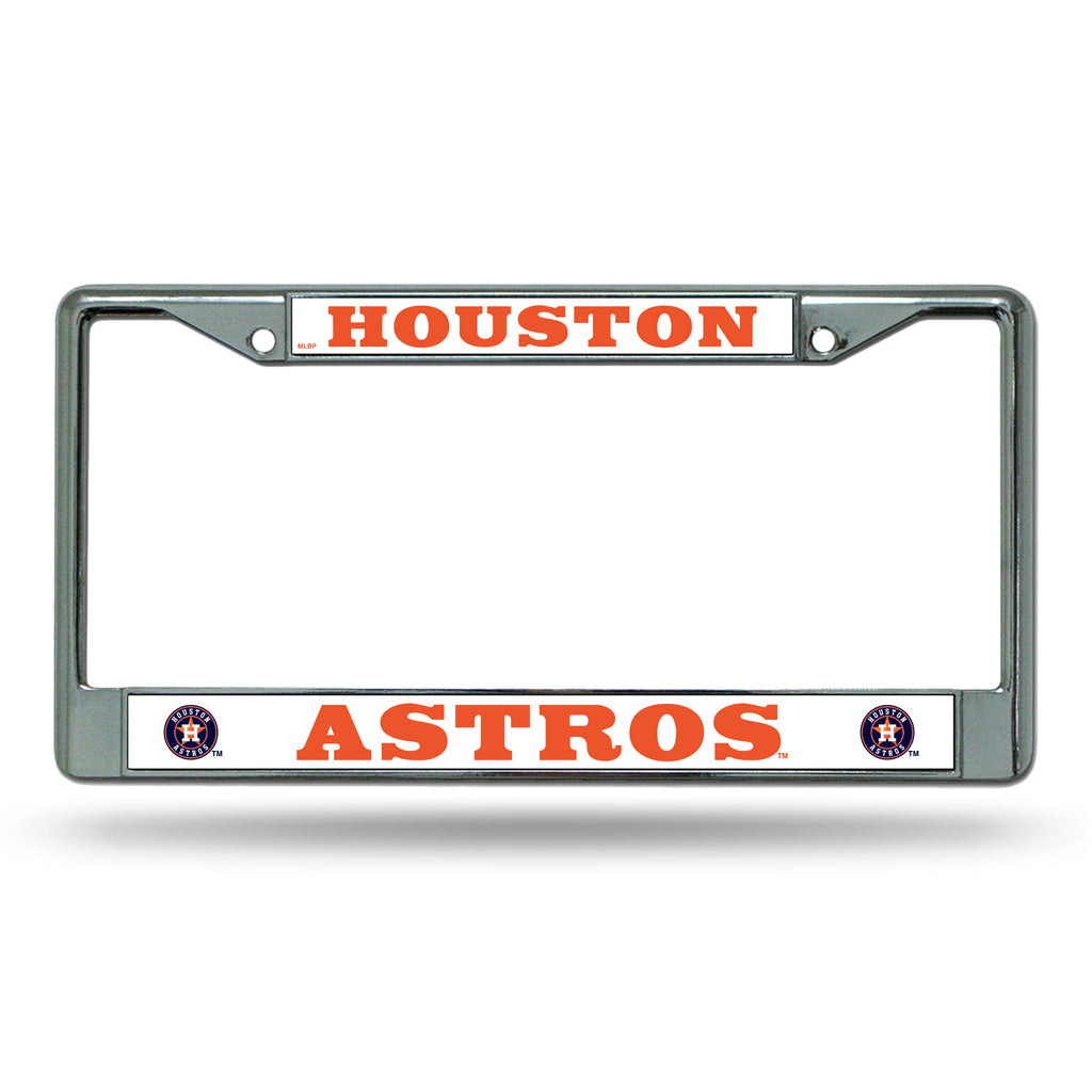 HOUSTON ASTROS CAR TRUCK TAG METAL LICENSE PLATE FRAME CHROME WHITE BASEBALL MLB