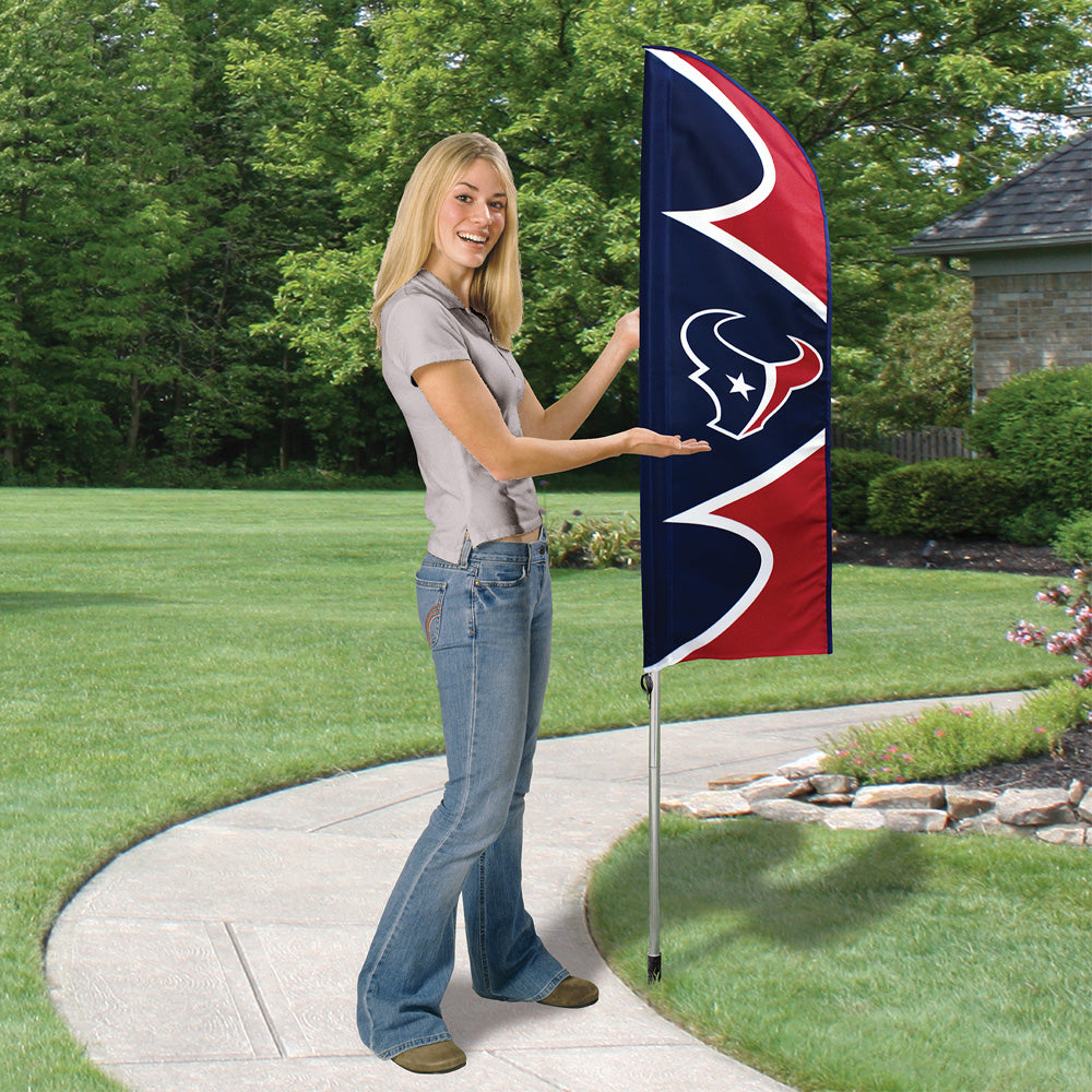 HOUSTON TEXANS 6 FOOT TALL SWOOPER DOUBLE SIDED TEAM FLAG