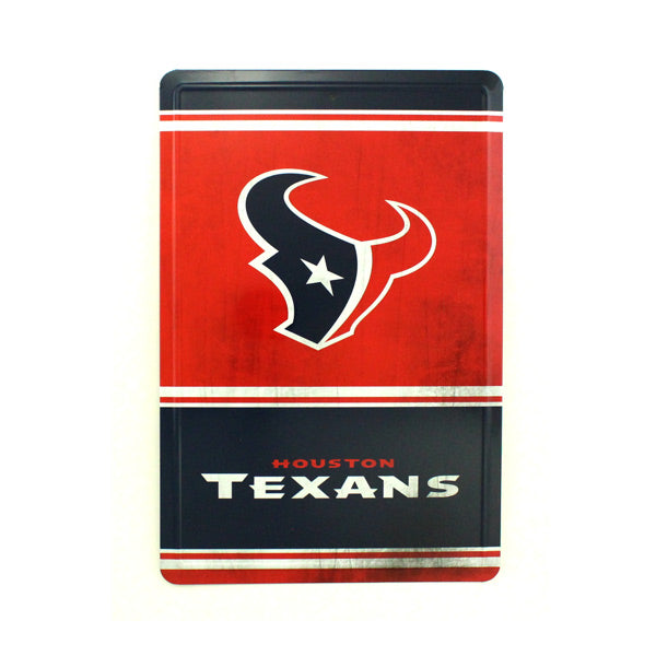 "HOUSTON TEXANS TEAM TIN SIGN VINTAGE WOOD LOOK METAL 8""  X 12"" MAN CAVE FAN"