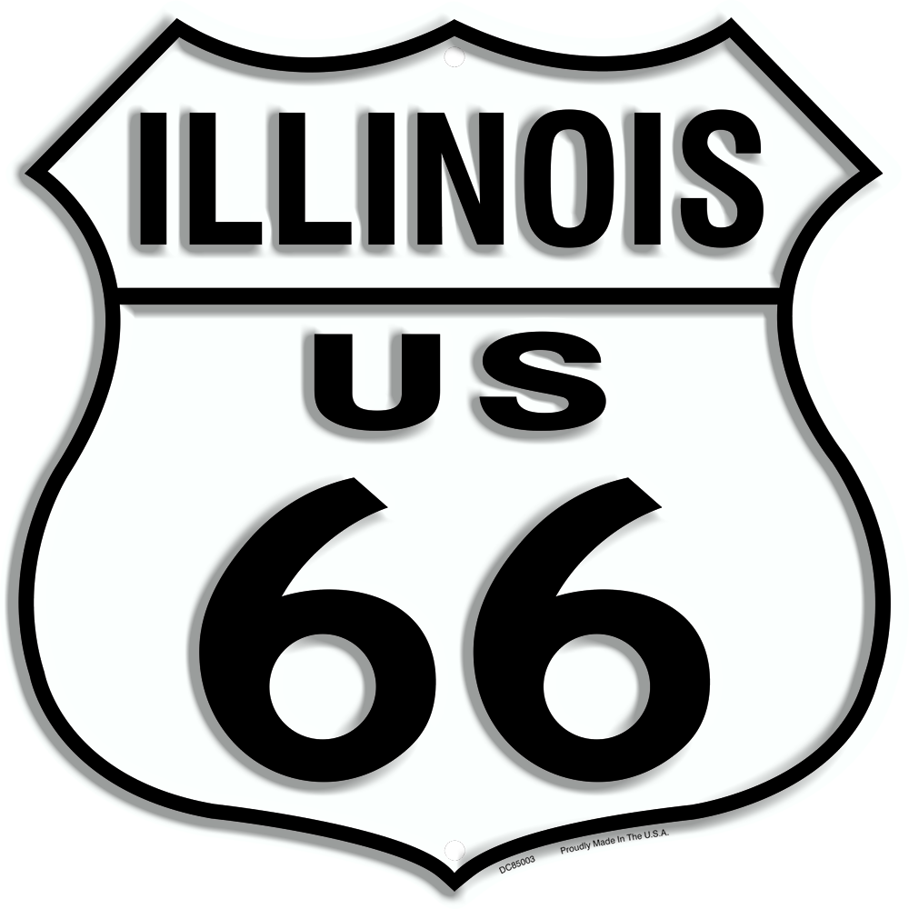 "US ROUTE 66 ILLINOIS 12 X 12"" SHIELD METAL TIN EMBOSSED HISTORIC HIGHWAY SIGN"