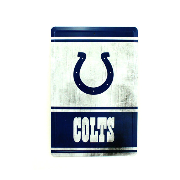 "INDIANAPOLIS COLTS TEAM TIN SIGN VINTAGE WOOD LOOK METAL 8""  X 12"" MAN CAVE FAN"