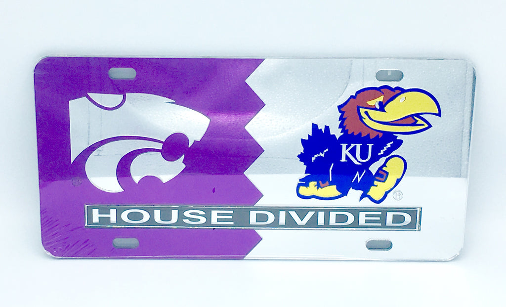 KANSAS STATE WILDCATS KANSAS JAYHAWKS HOUSE DIVIDED MIRROR LICENSE PLATE CAR TAG UNIVERSITY