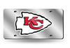 KANSAS CITY CHIEFS MIRROR CAR TAG LASER LICENSE PLATE SILVER SIGN NFL