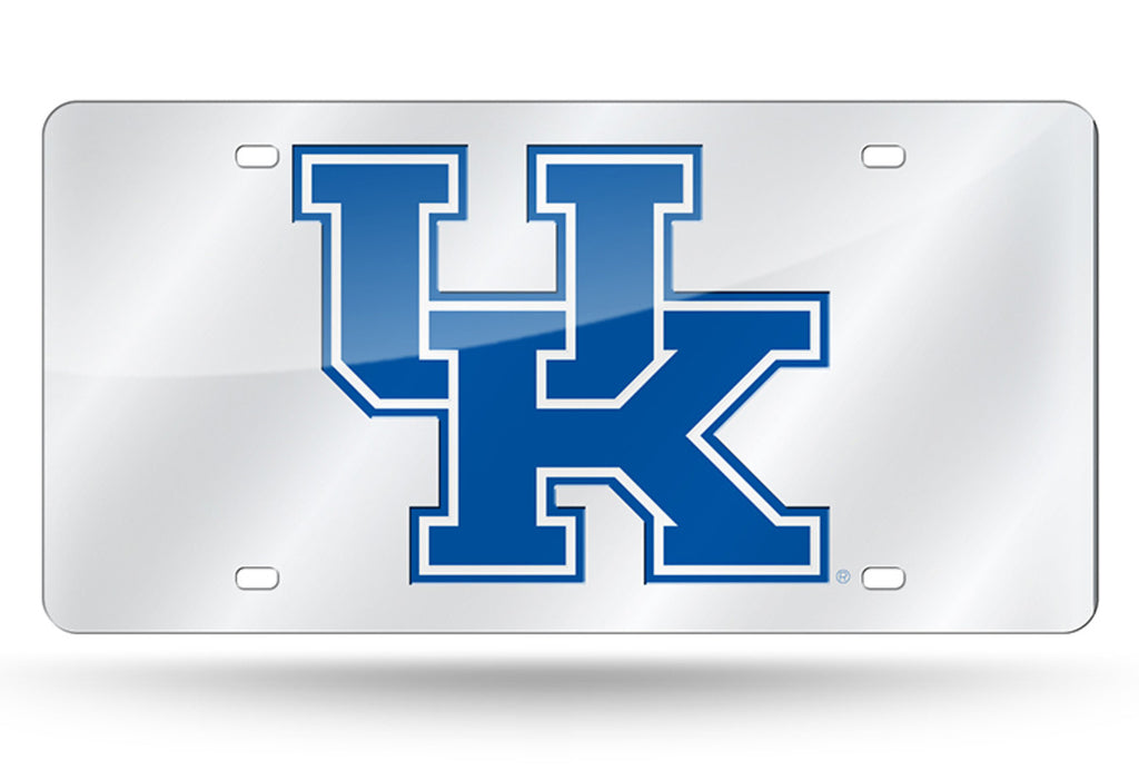 KENTUCKY WILDCATS SILVER MIRROR CAR TAG LASER LICENSE PLATE AUTO UNIVERSITY