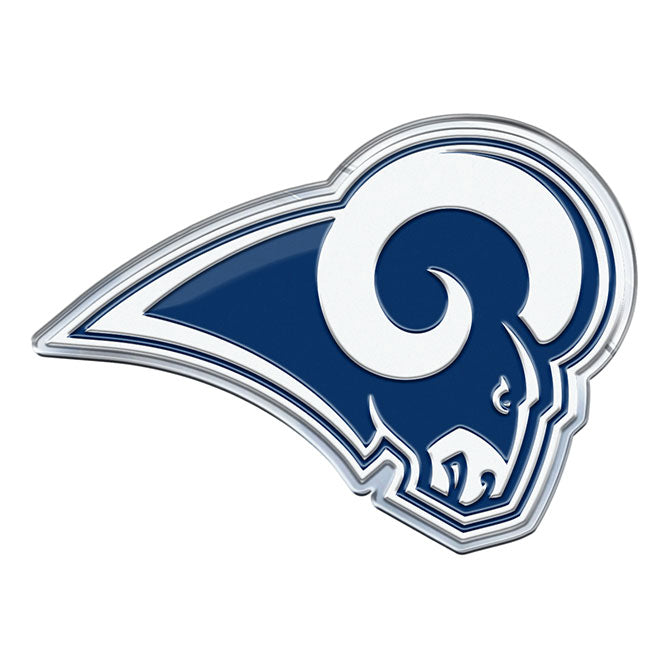 LOS ANGELES RAMS COLOR TEAM EMBLEM ALUMINUM AUTO LAPTOP STICKER DECAL EMBOSSED