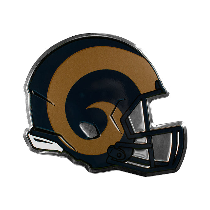 LOS ANGELES RAMS COLOR TEAM HELMET EMBLEM ALUMINUM AUTO LAPTOP STICKER DECAL EMBOSSED