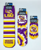 Lsu Tigers Team Socks New Sublimated Crew Ankle Ncaa Unisex Pick A Size College