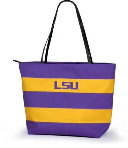 LSU TIGERS GAME DAY RUGBY STRIPED SHOPPER TOTE PURSE ZIPPER BAG TAILGATE