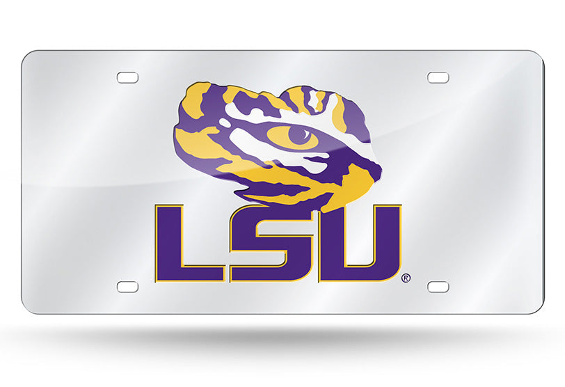 LSU Tigers Silver Mirror Car Tag Plate Tiger Eye