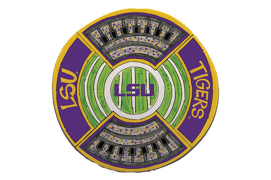 "Lsu Tigers 13.5"" Round Stadium Platter Ncaa Tailgate Gameday"