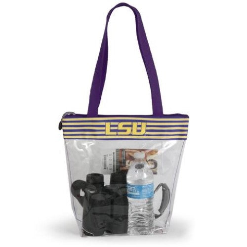 LSU TIGERS CLEAR ZIPPER STADIUM TOTE APPROVED PURSE BAG NCAA INSIDE POCKET