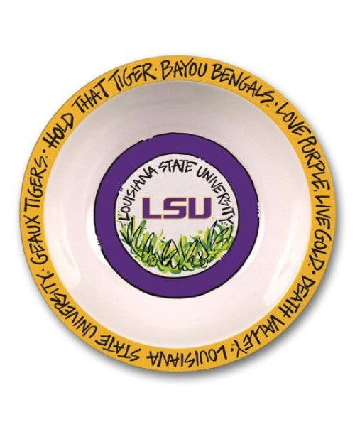 "LSU TIGERS MELAMINE BOWL 12"" DEATH VALLEY GEAUX BAYOU TAILGATING MAGNOLIA LANE"