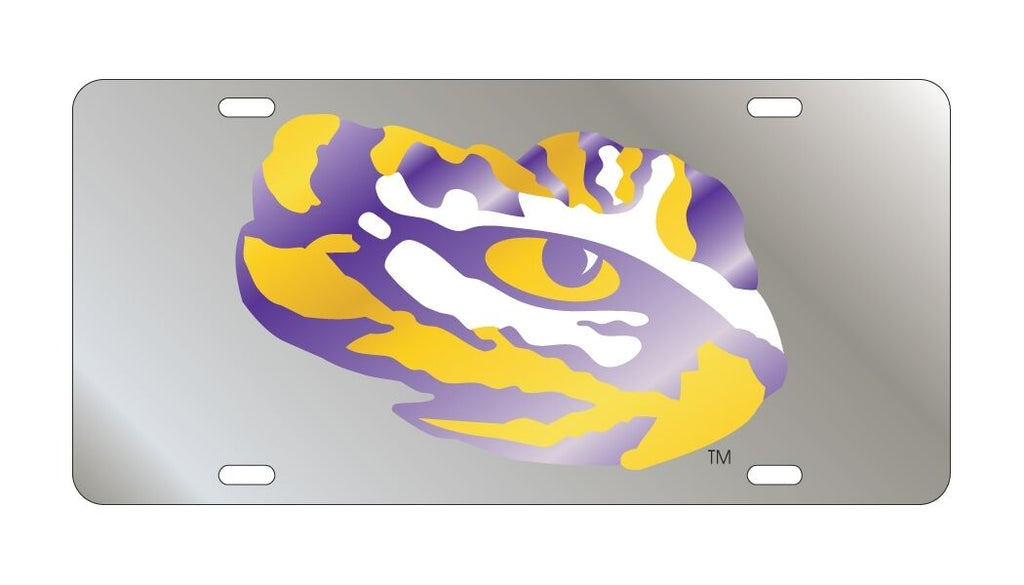 Lsu Tigers Mirror Car Tag Silver Laser License Plate Tiger Eye Auto Car Truck