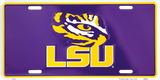 LSU TIGERS LICENSE PLATE PURPLE W/ TIGER'S EYE