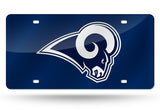 LOS ANGELES RAMS MIRROR CAR TAG LASER LICENSE PLATE NAVY BLUE SIGN LOGO NFL