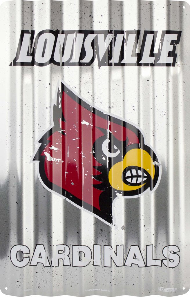 "LOUISVILLE CARDINALS CORRUGATED METAL SIGN 12"" X 18"""