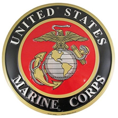 "United States Marine Corps 12"" Embossed Round Circle Metal Sign Usa"