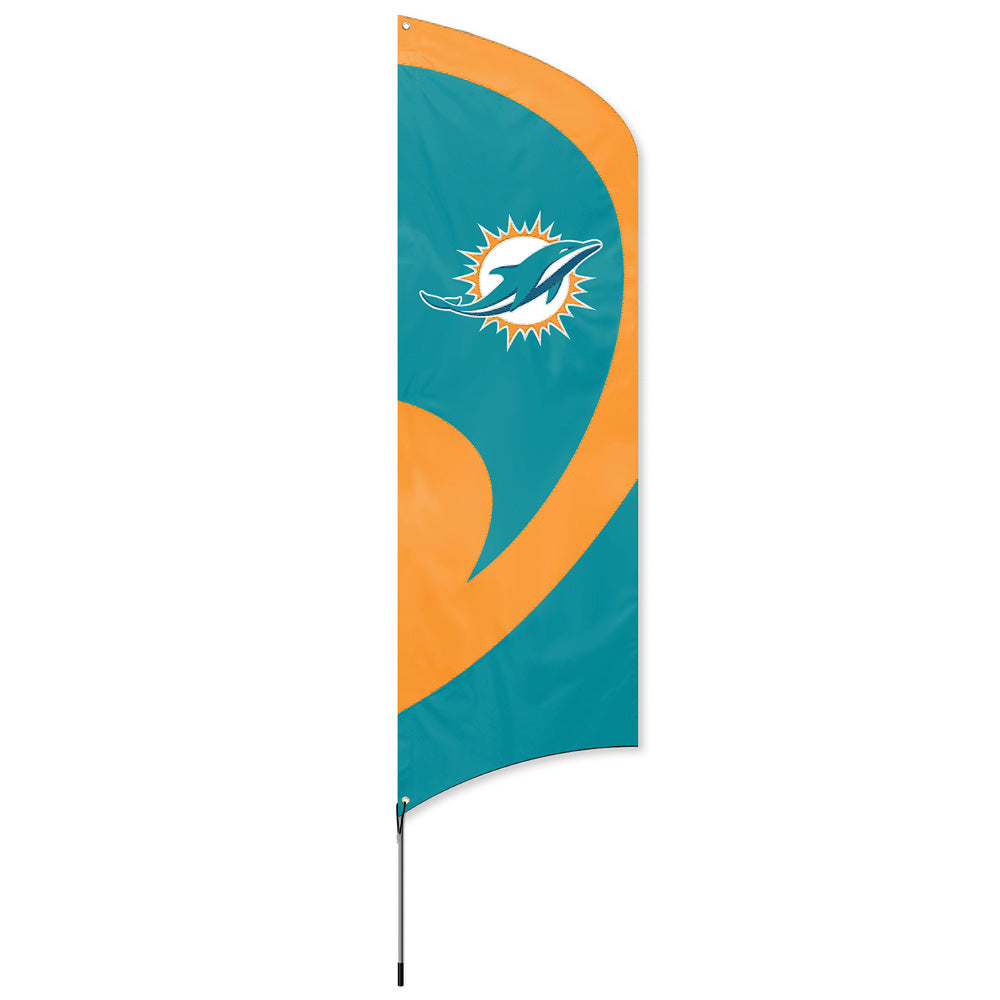 MIAMI DOLPHINS 8.5 FOOT TALL TEAM FLAG 11.5' POLE SIGN BANNER NFL