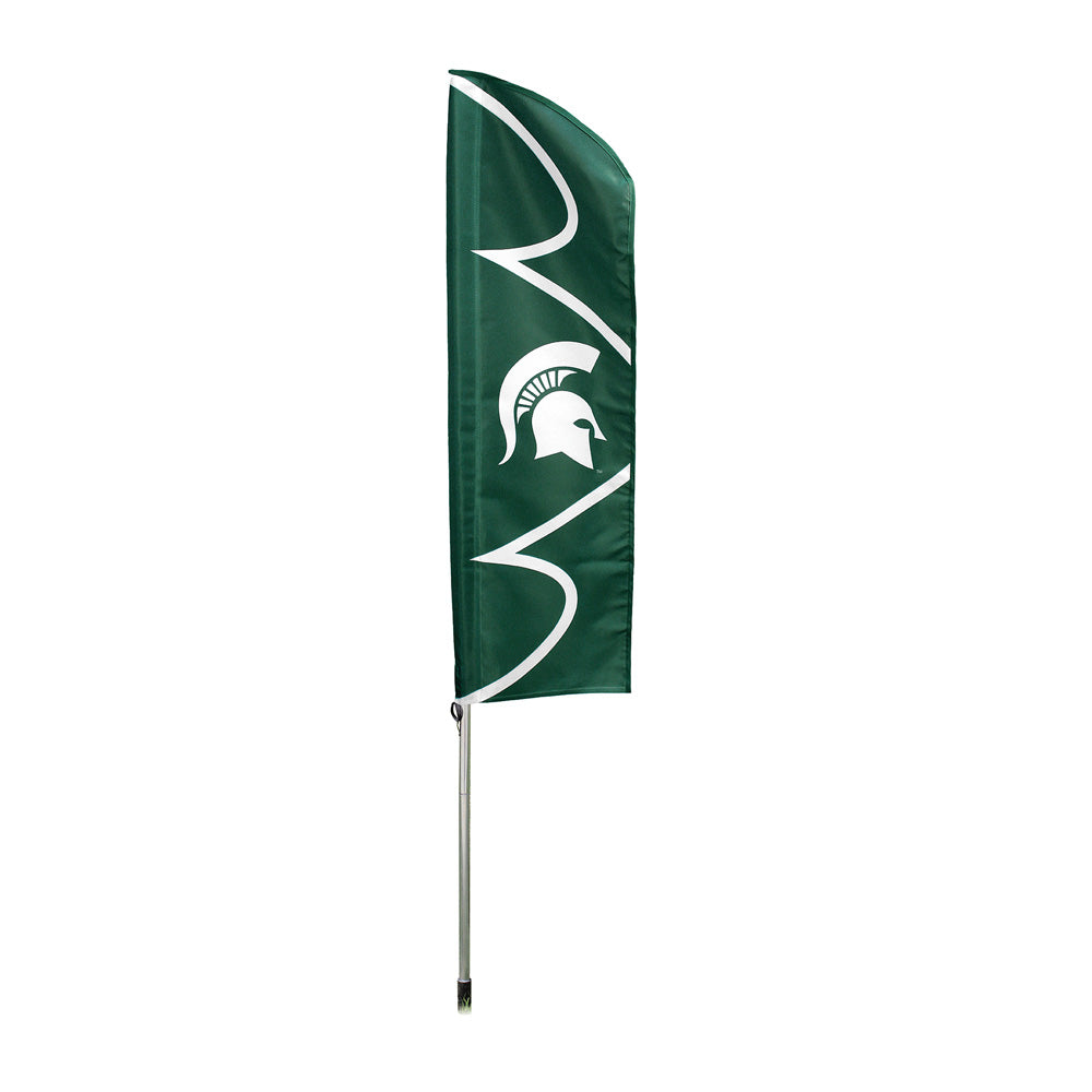 MICHIGAN STATE SPARTANS 6 FOOT TALL FLAG STEEL POLE BANNER SWOOPER DOUBLE SIDED