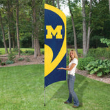 MICHIGAN WOLVERINES 8.5 FOOT TALL TEAM FLAG 11.5' POLE SIGN APPLIQUE EMBROIDERED TAILGATES