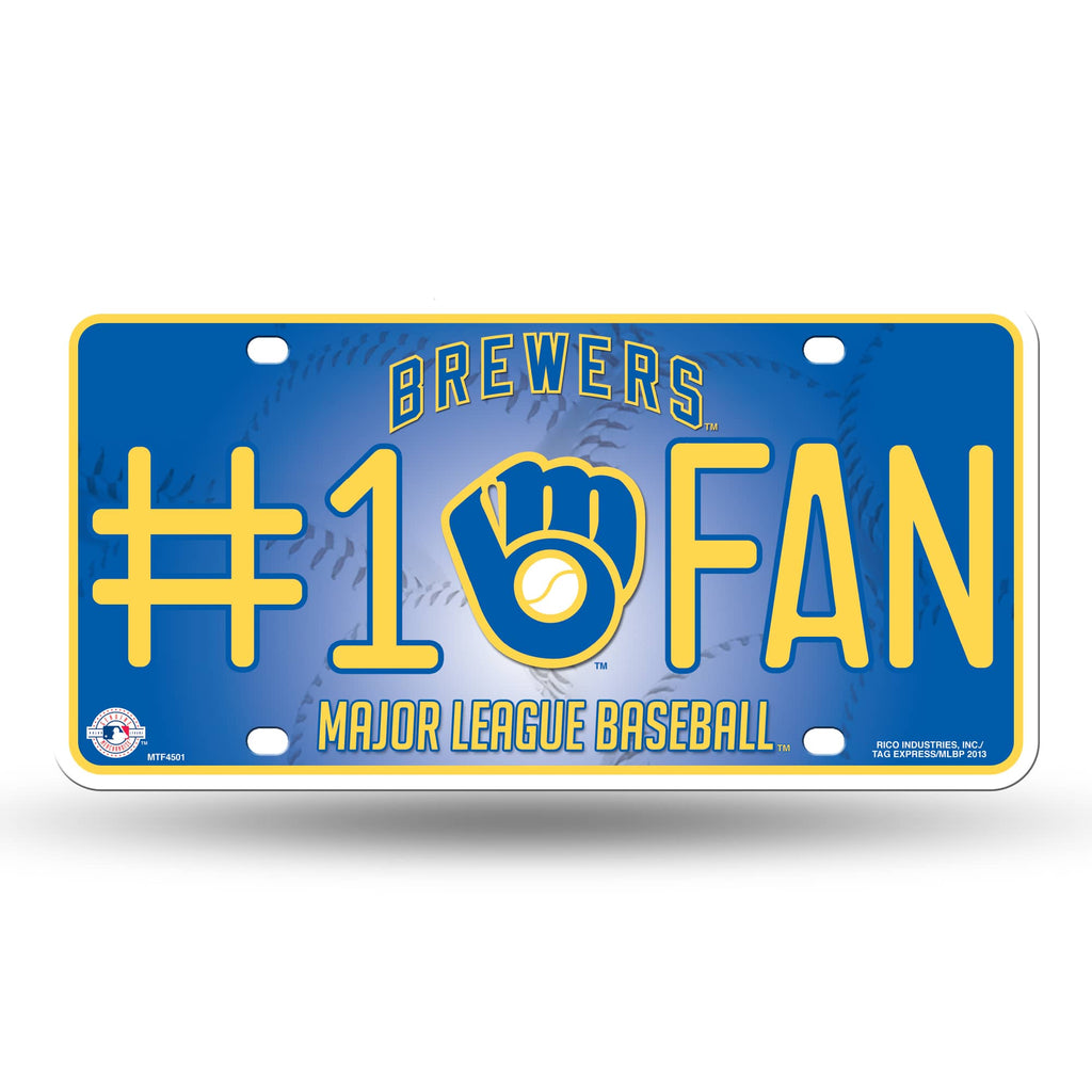 MILWAUKEE BREWERS #1 FAN CAR TRUCK TAG LICENSE PLATE MLB BASEBALL METAL SIGN
