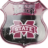 MISSISSIPPI STATE BULLDOGS SHIELD WELCOME TO OUR STATE METAL SIGN