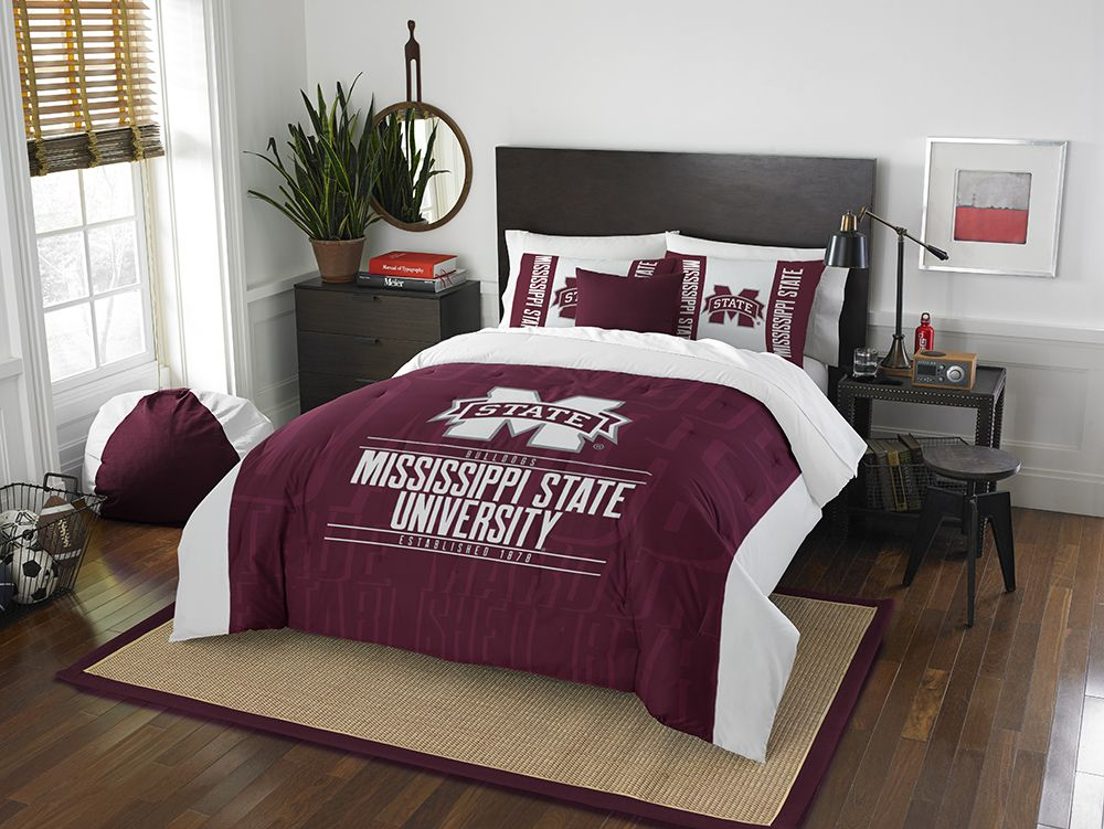 MISSISSIPPI STATE BULLDOGS FULL/QUEEN COMFORTER AND SHAM 3PC SET NORTHWEST NCAA