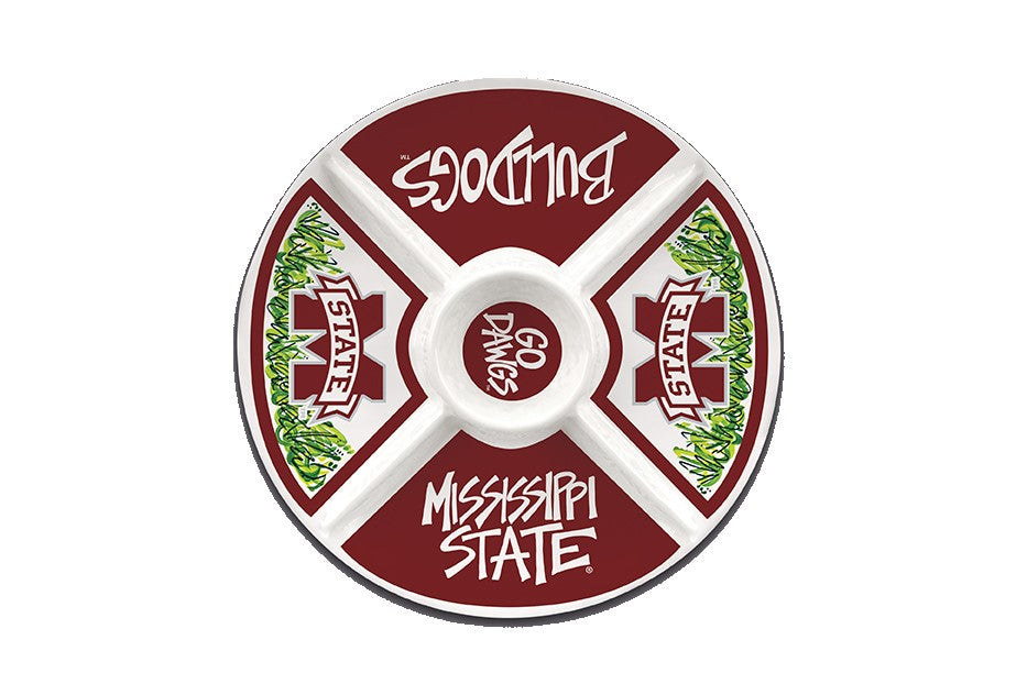 MISSISSIPPI STATE BULLDOGS MELAMINE VEGGIE DIP DIVIDED TRAY PLATTER PARTIES TAILGATING