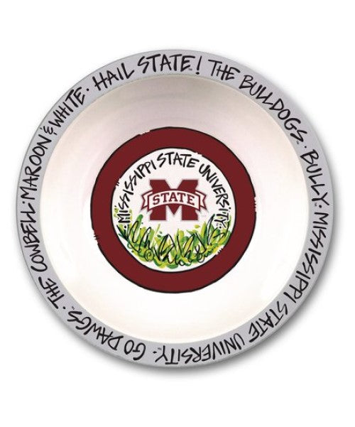 "MISSISSIPPI STATE BULLDOGS MELAMINE BOWL 12"" GO DAWGS COWBELL HAIL MAGNOLIA LANE"