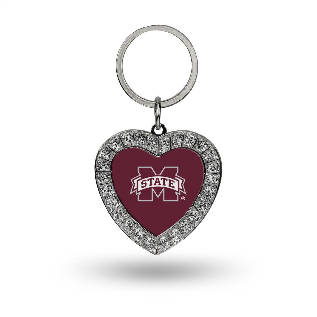 MISSISSIPPI STATE BULLDOGS RHINESTONE HEART BLING KEYCHAIN NCAA KEY RING