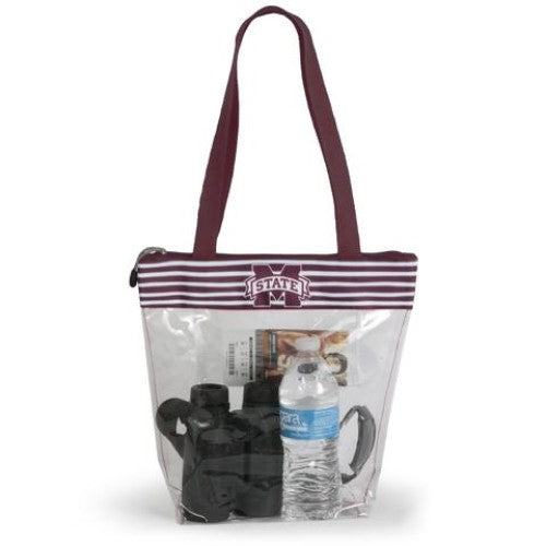 MISSISSIPPI STATE BULLDOGS CLEAR ZIPPER STADIUM TOTE APPROVED PURSE BAG NCAA INSIDE POCKET