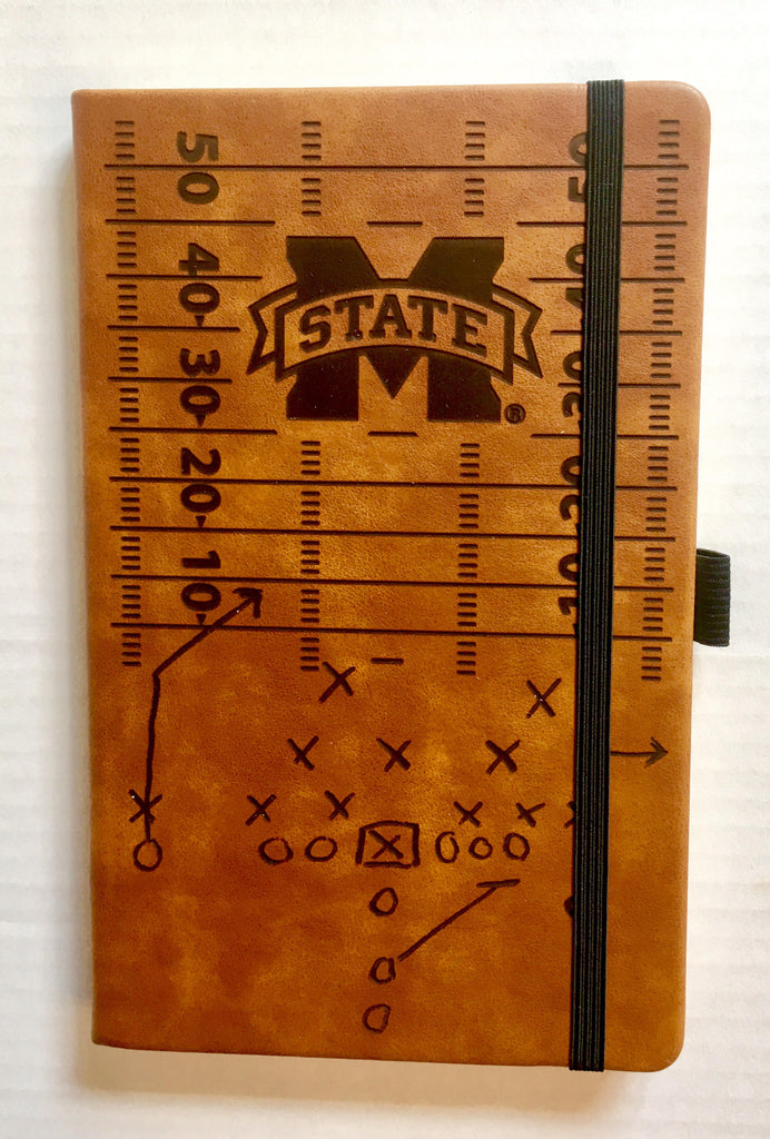 MISSISSIPPI STATE BULLDOGS LASER ENGRAVED BROWN NOTEPAD WITH ELASTIC BAND JOURNAL LOGO