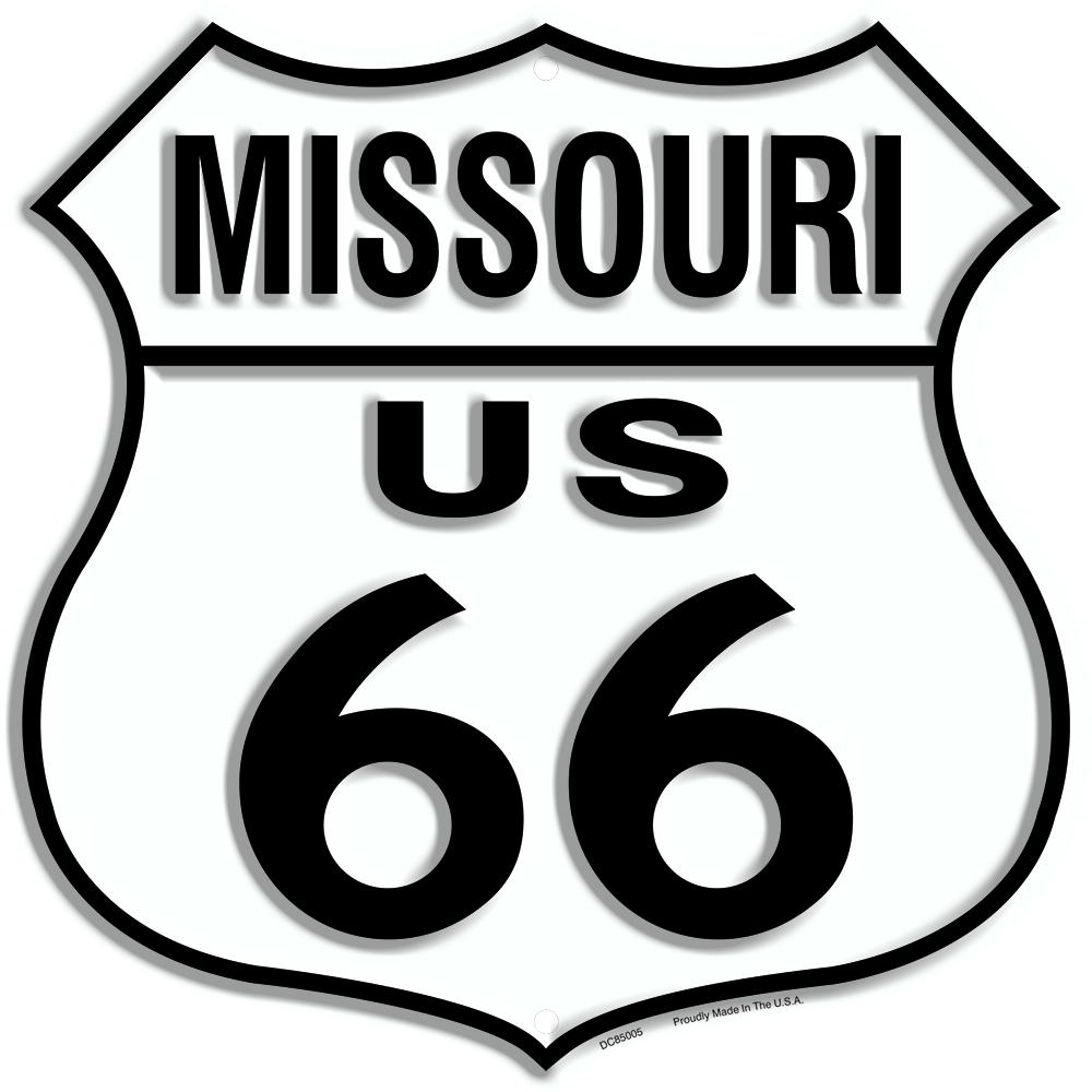 "US ROUTE 66 MISSOURI 12 X 12"" SHIELD METAL TIN EMBOSSED HISTORIC HIGHWAY SIGN"