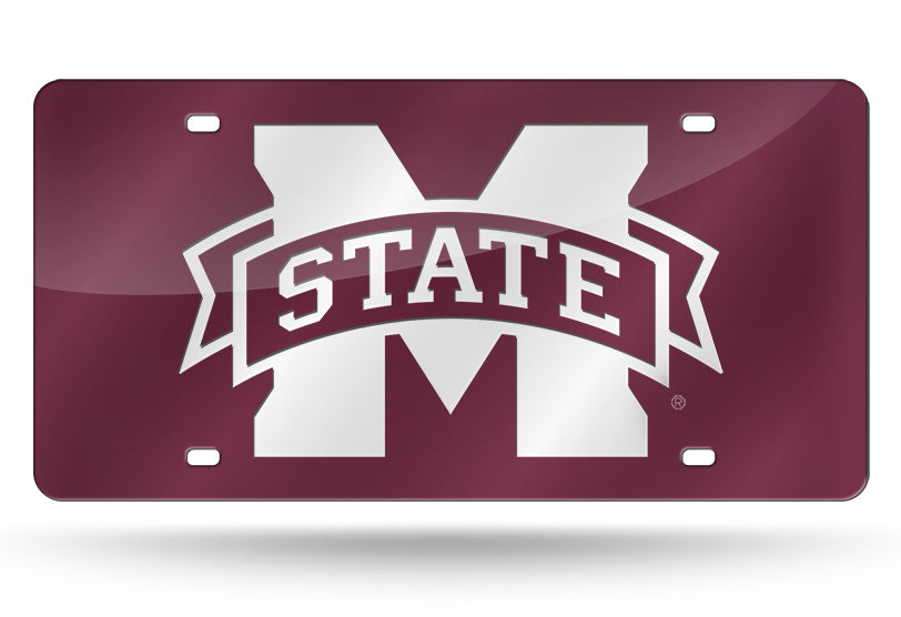 MISSISSIPPI STATE BULLDOGS MAROON MIRROR WHITE LOGO CAR TAG LICENSE PLATE