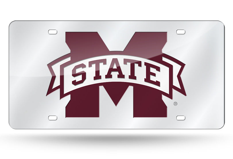MISSISSIPPI STATE BULLDOGS MIRROR SILVER MAROON WHITE CAR TAG LICENSE PLATE