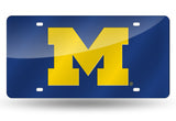 MICHIGAN WOLVERINES MIRRORED LASER BLUE CAR TAG LICENSE PLATE YELLOW M LOGO