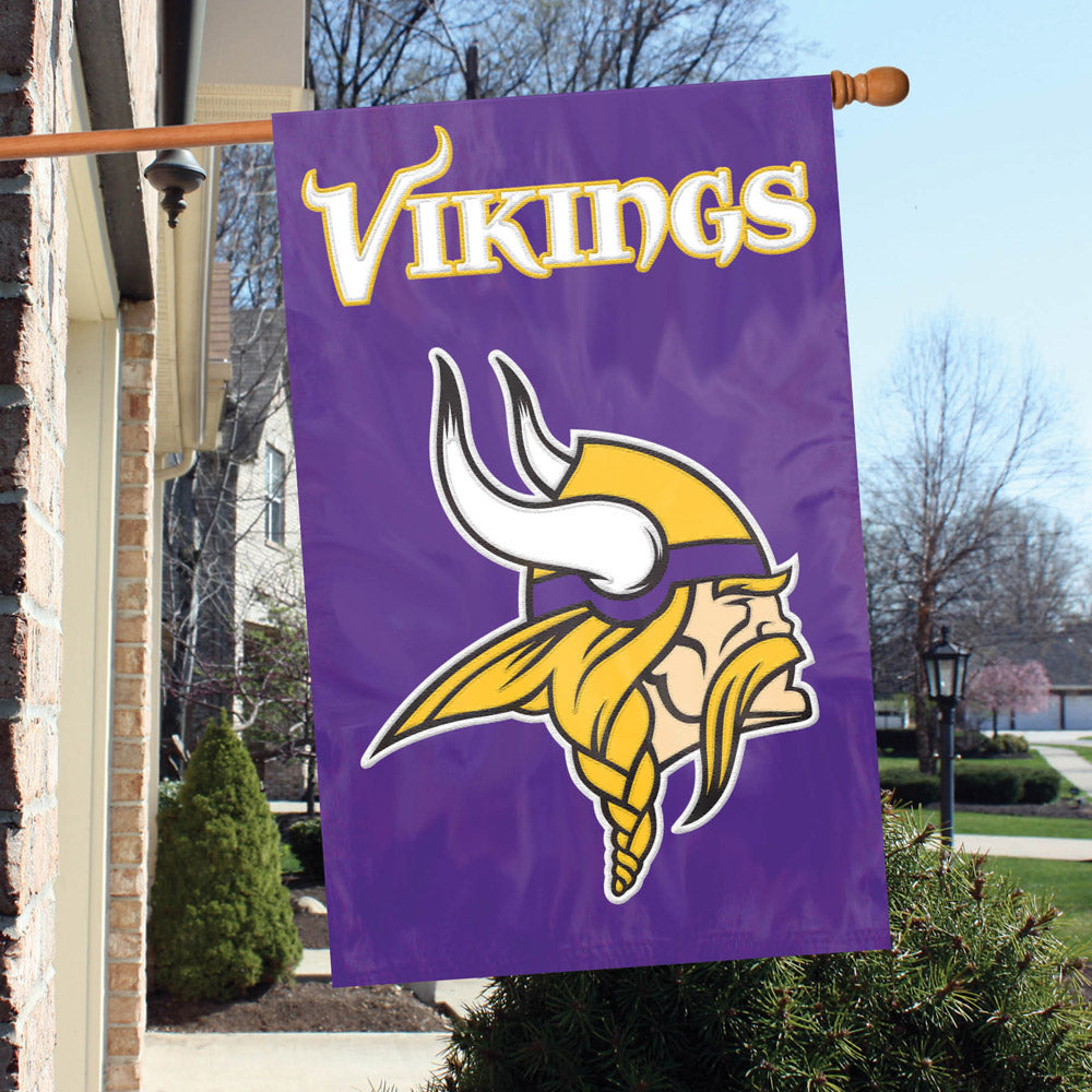 MINNESOTA VIKINGS HOUSE FLAG APPLIQUE EMBROIDERED 2 SIDED OVERSIZED
